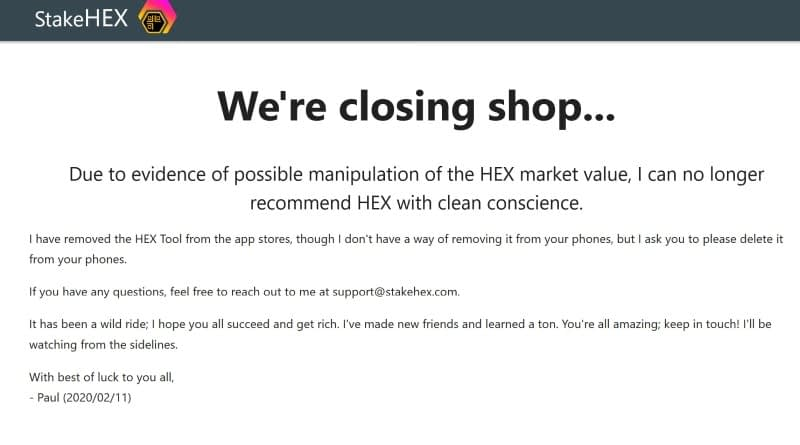 hex crypto scam according to staakehex
