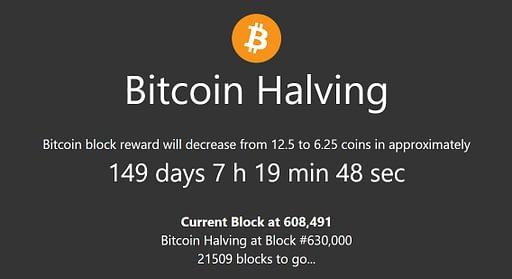 coingecko bitcoin halving countdown clock