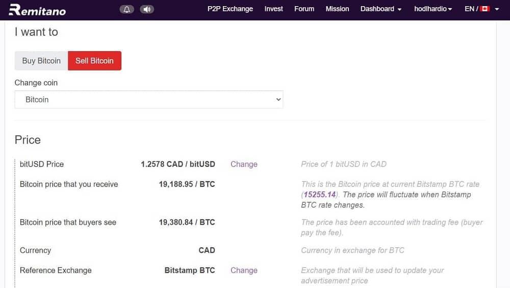 Remitano Detailed Sell Bitcoin Ad
