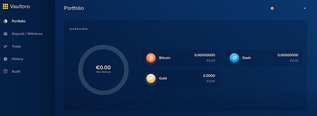Vaultoro Trading App Dashboard