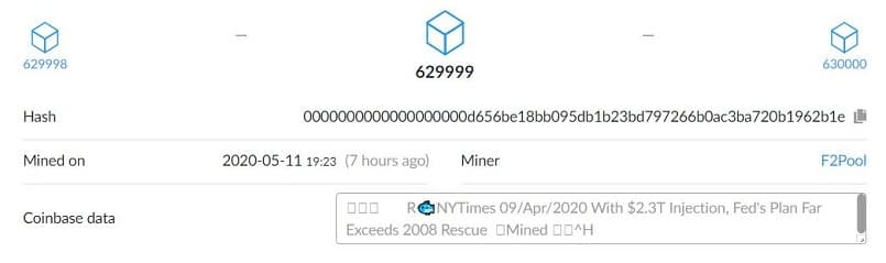 Halving Block 629999 Message