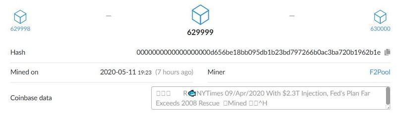 Halving Block 629999 Message
