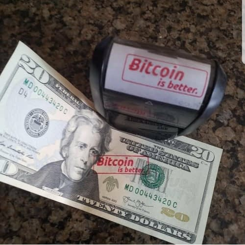 defacing currency with bitcoin stamp